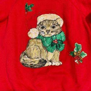 Vintage 80s Cat Ugly Christmas Crewneck Pullover M